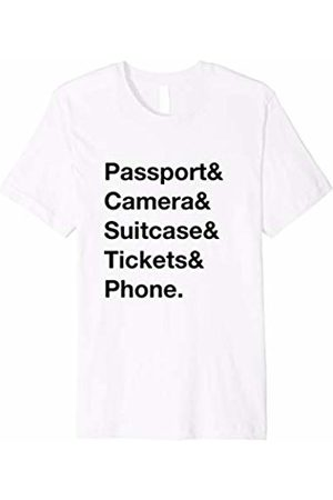 Adventurous Merch Men T-shirts - Travel Essentials: Passport & Camera & Suitcase & Tickets &