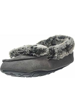 Totes Women's Ladies Suedette Fur Mocc Slippers Hi-Top ( Gry)