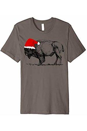 Buffalo and Bison Christmas Holiday Shirt Buffalo Wearing A Christmas Santa Claus Hat Bison T Shirt