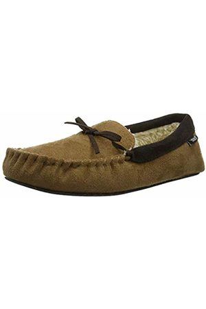Totes Mens Suedette Mocc Slippers Low-Top, Chocolate Tan