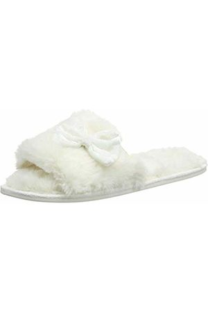 Totes Women's Ladies Fur Open Toe Slippers Back, (Cream CRM)