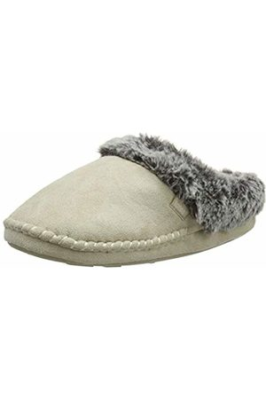 Totes Women's Ladies Suedette Fur Mule Slippers Open Back, (Natural NAT)