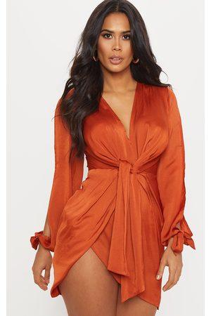 PRETTYLITTLETHING Rust Satin Twist Front Open Sleeve Wrap Dress