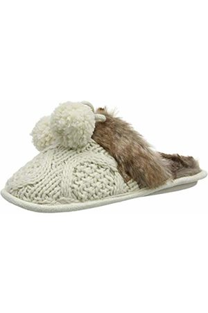 Totes Women's Ladies Cable Knit Mule Slippers Open Back, (Cream CRM)