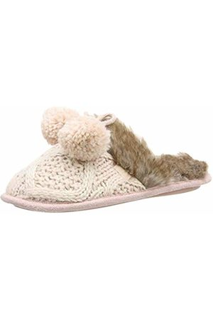 Totes Women's Ladies Cable Knit Mule Slippers Open Back ( Pnk)