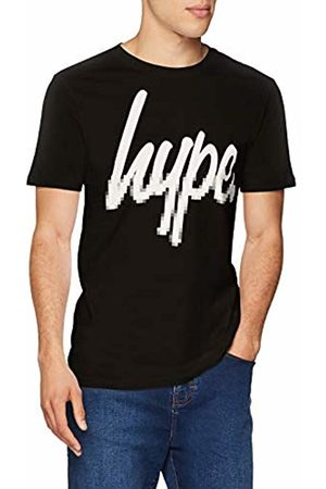 Hype Men's Pixel Script T-Shirt, (Nero )