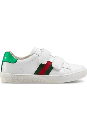 Gucci Childrens leather sneaker with Web