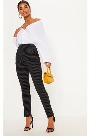 PrettyLittleThing Monochrome Pinstripe Skinny Trousers