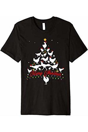 Merry Christmas Tree Chickens T-shirt- Men women t shirt