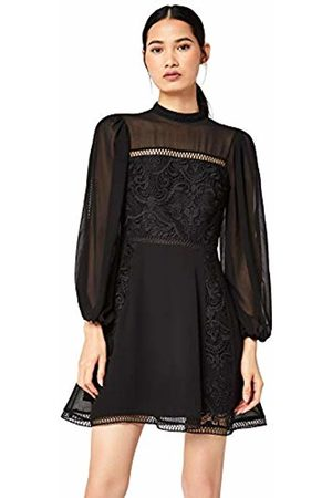 TRUTH & FABLE Lace Volume Sleeve Skater Party Dress