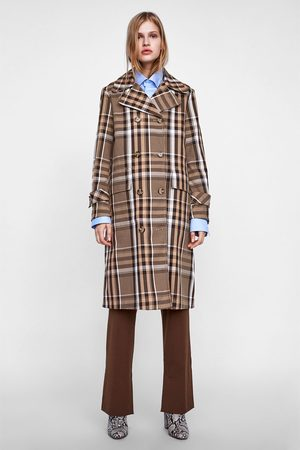 Zara Trench Coats - CHECKED DOUBLE-BREASTED TRENCH COAT