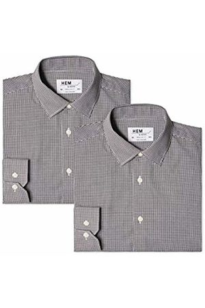 Hem & Seam Men's 2 Regular Fit Gingham Formal Shirt