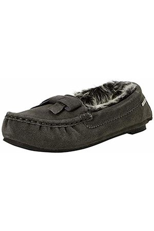 Isotoner Women's Real Suede Moccasin Slippers Low-Top ( Gry)