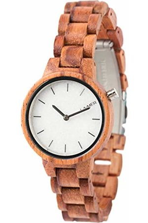 Laimer Wood watch MARMO ROSE – women's wristwatch made of 100% rose wood and a dial consisting of South Tyrolean marble