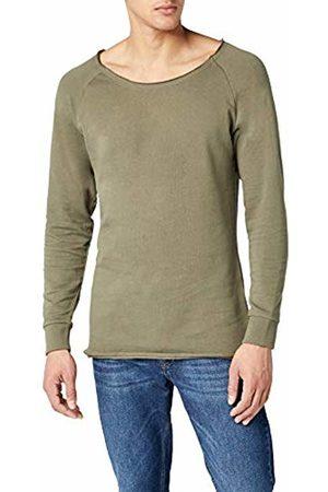 Urban classics Men's Long Open Edge Terry Crewneck Sweatshirt, -Grün (Olive 176)