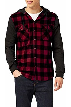 Urban classics Men's Hooded Checked Flanell Sweat Sleeve Shirt Sports Hoodie, Multicoloured-Mehrfarbig Burgundy/blk 798