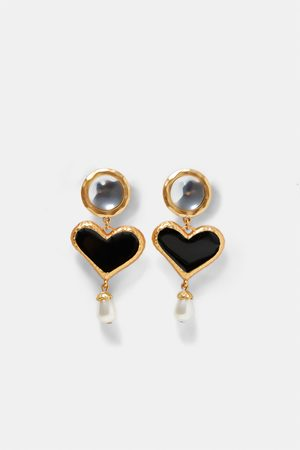 Zara EARRINGS WITH HEART AND FAUX PEARL