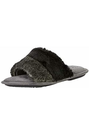 Isotoner Women's Faux Fur Open Toe Slippers Back ( Gry)