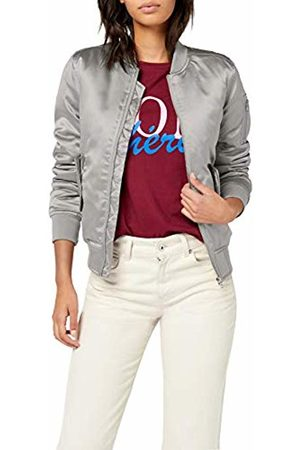 Urban classics Women's Ladies Satin Bomber Jacket Silber ( 473)