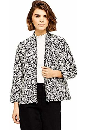 FIND Women's Jacket in Jacquard with Open Front Shawl Collar Unlined