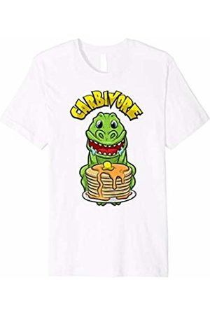 Fitness Fanatic By Pemissa Funny T Rex T-Shirt Dinosaur Loves Carb Pancake Workout Tee