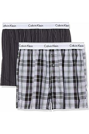 Calvin Klein Men's Boxer Slim 2pk Shorts, (Ryan Stripe D Well/Hickory Plaid B JKZ)