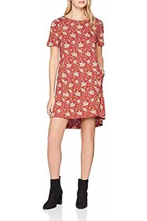 Fat Face Women's Simone Stitchwork Floral Dress, (Cranberry )