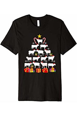 Merry Christmas Tree Cows T-shirt Men women t shirt