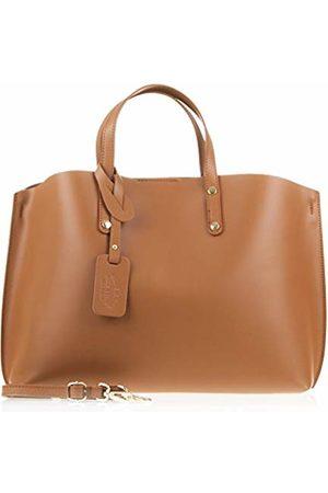 Firenze Artegiani Women's Handbag Genuine Leather, Tamponate Finish Shape Shopper Shoulder Bag