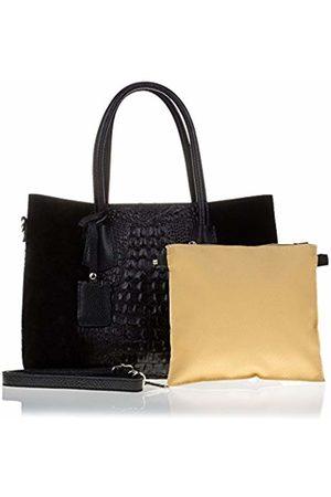 Firenze Artegiani Women's Handbag Tote Genuine Leather, Engraved Crocodile Lacquered, Shoulder Bag