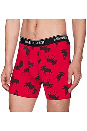 Hatley Little Blue House Men's Printed Boxers Briefs, (Moose On )