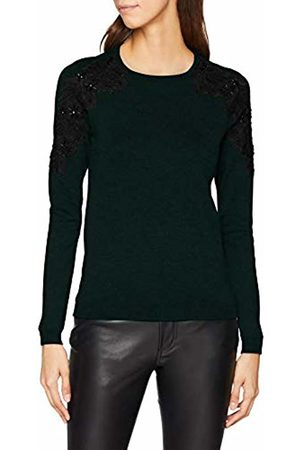 warehouse Women's Colour Block Ribbed Jumper, (Berry)