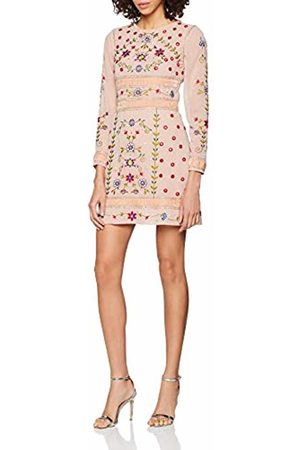 Frock and Frill Women's Fawn Floral Embroidered Mini Dress Party ( #FFC0CB)