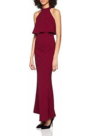 Quiz Women's Split Front Maxi Dress Party, (Berry)