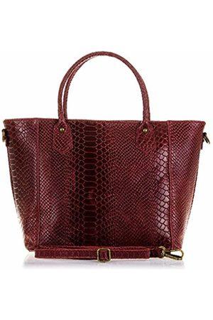 Firenze Artegiani Women's Handbag Genuine Leather, Engraved Snake and Lacquered Shoulder Bag