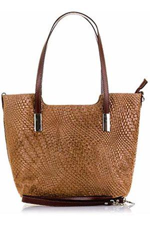 Firenze Artegiani Women's Handbag Genuine Leather, Embossed Braided Geometric and Lacquered Shoulder Bag