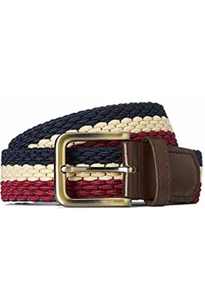 FIND Men's Belt Fabric Webbed Stretch, Multicoloured (Navy/ecru/burg)