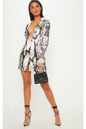 PRETTYLITTLETHING Satin Snake Print Blazer Dress