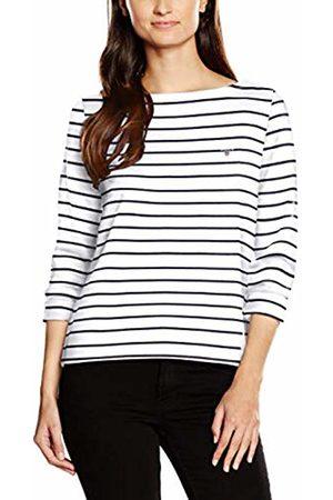 9976c28f191 GANT Women's Breton Stripe Boatneck Jumper Long Sleeve Top, Off- (Eggshell)
