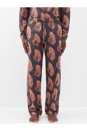Desmond & Dempsey Men Trousers - Sansindo Tiger-print Cotton Pyjama Trousers - Mens