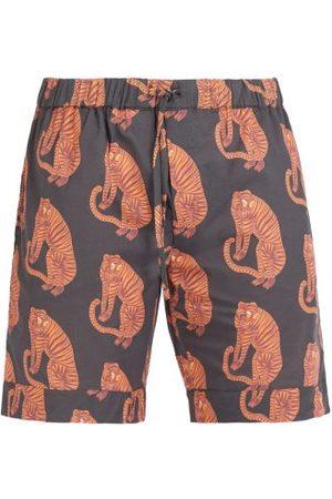 Desmond & Dempsey - Tiger Printed Pyjama Shorts - Mens