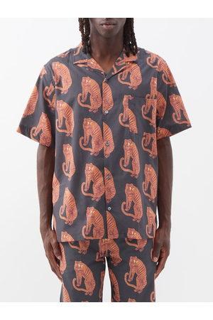 Desmond & Dempsey Men Tops - Sansindo Tiger-print Cotton Pyjama Top - Mens - Multi