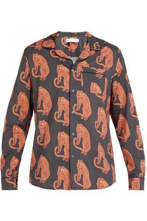Desmond Dempsey - Sansindo Tiger Print Cotton Pyjama Shirt - Mens