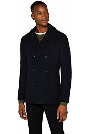 FIND Men's Jacket in Pea Coat Style with Long Sleeve Double Breasted Wool Mix