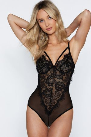 NASTY GAL Women Bodies - Strappy Detail Eyelash Lace High Leg Body