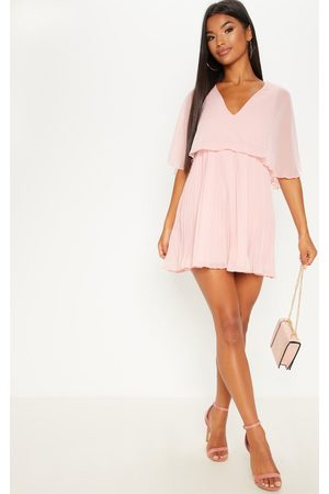 PRETTYLITTLETHING Dusty Cape Pleated Detail Skater Dress