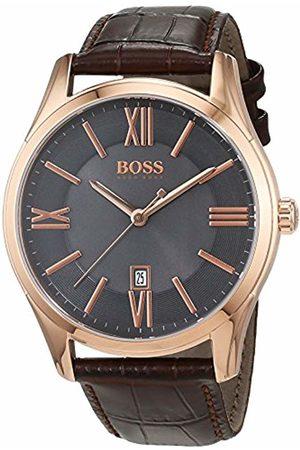 HUGO BOSS Ambassador Mens Quartz Grey Analogue Classic Leather Strap 1513387