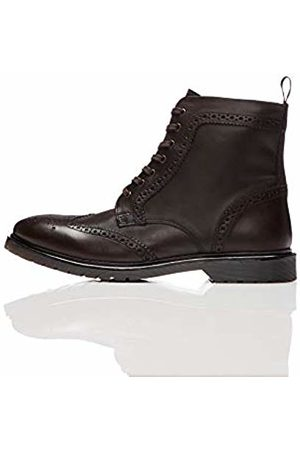 FIND Leather Cleated Brogue Biker Boots