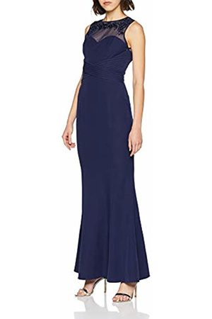Little Mistress Women's Navy Mesh Yoke Maxi Dress