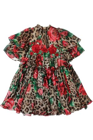 Dolce & Gabbana Rose & Leopard Print Silk Chiffon Dress